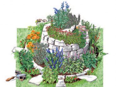 Spiralni zeliščni vrt iz kamnitega zidu