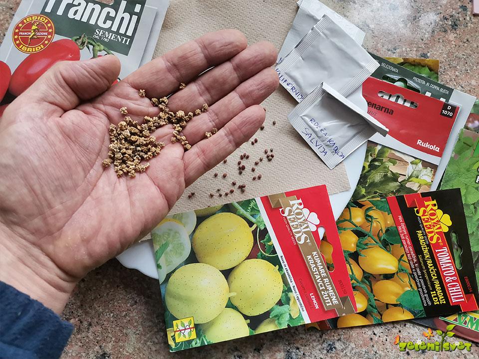 Domače, ekološko ali nerazkuženo seme zelenjave, cvetlic in zelišč